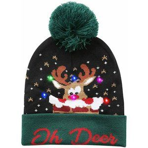 LED Christmas Adult Light-Up Hat Oh Deer Green